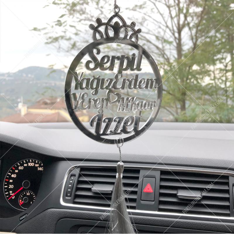 Araç Dikiz Aynası Süsü Gümüş 9cm (Tek Taraflı)