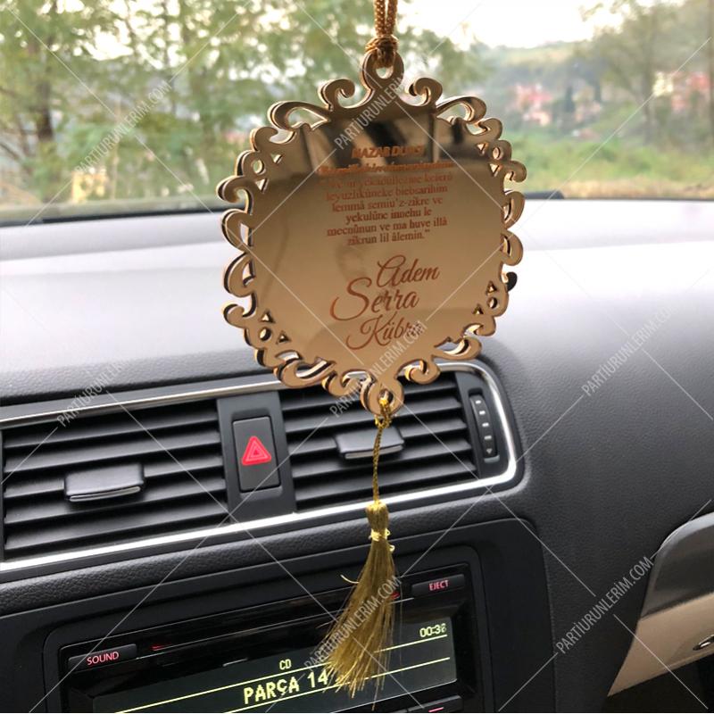 Çift Taraflı Fotoğraflı Pleksi Gold Araç Dikiz Aynası Süsü (9cm