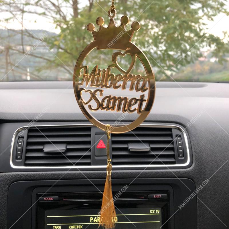 Araç Dikiz Aynası Süsü Gold (Tek Taraflı) 9 cm