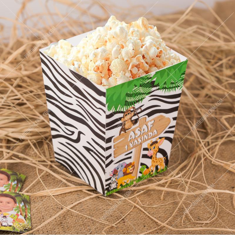 Safari Doğum Günü Popcorn Kutusu 5 Adet
